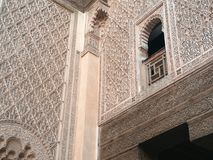 Window detail Madrasa of Ben Youssef, Marrakech morocco Royalty Free Stock Images
