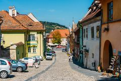Beautiful Architecture In Downtown Sighisoara City royalty free stock photo