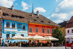 Beautiful Architecture In Downtown Sighisoara City stock photos