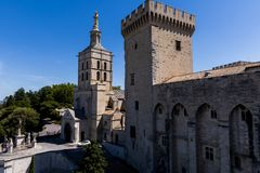 Beautiful architecture of famous Palais des Papes. (Papal palace) in Avignon France royalty free stock photo