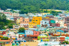 Beautiful Architecture at Gamcheon Culture Village in Busan Stock Photos