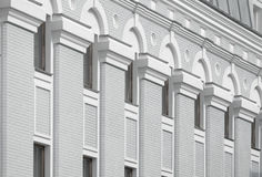 Beautiful architecture on a gray and white building Royalty Free Stock Photo