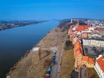 Beautiful architecture of Grudziadz at Wisla river. Aerial view of Grudziadz old town at Wisla river, Poland Stock Photography
