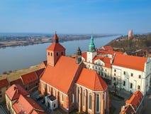 Beautiful architecture of Grudziadz at Wisla river. Poland Stock Photography