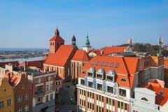 Beautiful architecture of Grudziadz at Wisla river. Poland Stock Image