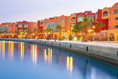 Beautiful architecture of Hurghada Marina. At dusk in Egypt Royalty Free Stock Photo