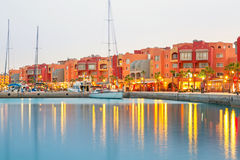 Beautiful architecture of Hurghada Marina. At dusk in Egypt Royalty Free Stock Photography