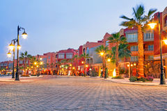 Beautiful architecture of Hurghada Marina. At dusk in Egypt Stock Images
