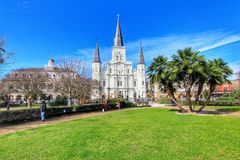 Beautiful architecture of Jackson Square and Saint Louis Cathedral stock photo