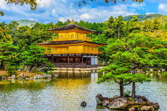 Beautiful architecture at Kinkaku-ji (Temple of the Golden Pavil. Ion), officially named Rokuon-ji (Deer Garden Temple), a Zen Buddhist temple in Kyoto, Japan Stock Photo