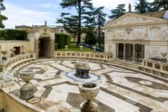 View of Villa Pia Casina Pio IV which is now home to Pontifical Academy of Sciences from Vatican Gardens in Rome Italy. stock image