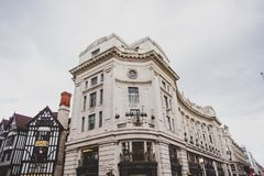 Beautiful architecture in London cty centre in Regent Street nea. LONDON, UNITED KINGDOM - August 12th, 2014: beautiful architecture in London cty centre in Royalty Free Stock Photos