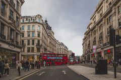 Beautiful architecture in London cty centre in Regent Street. LONDON, UNITED KINGDOM - August 12th, 2014: beautiful architecture in London cty centre in Regent Royalty Free Stock Photos