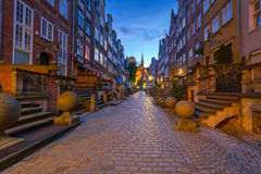 Beautiful architecture of Mariacka street in Gdansk Royalty Free Stock Photo