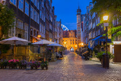 Beautiful architecture of Mariacka street in Gdansk Stock Photos