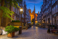 Beautiful architecture of Mariacka street in Gdansk Stock Images