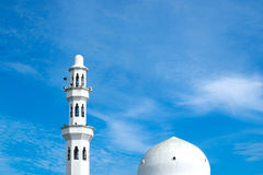 Beautiful architecture, minaret and dome of Tengku Tengah Zahara. H Mosque with blue sky background,iconic floating mosque located at Terengganu Malaysia Royalty Free Stock Images