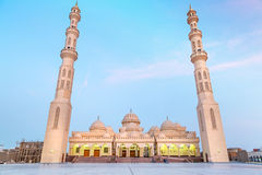 Beautiful architecture of Mosque in Hurghada. At dusk, Egypt Royalty Free Stock Photo