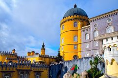 Beautiful architecture of National Palace of Pena. Famous landmark in Sintra, Portugal royalty free stock images