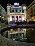 Oden Theatre in Bucharest, at night stock images