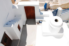 Beautiful architecture of Oia. (Santorini island, Greece), top view stock photos