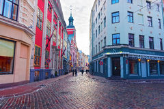 Beautiful architecture of Old Riga at Christmas time Royalty Free Stock Photo