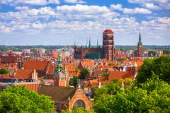 Beautiful architecture in the old town of Gdansk Stock Photos