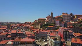 Beautiful architecture of Porto with red roofed, old buildings, Portugal. Beautiful architecture of Porto with red roofed, old buildings and flying birds stock video