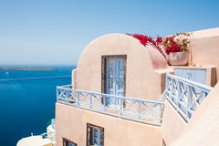 Beautiful architecture on Santorini island, Greece. Landscape with sea view Royalty Free Stock Photo