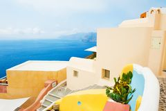Beautiful architecture on Santorini island, Greece. Summer landscape, sea view Stock Image
