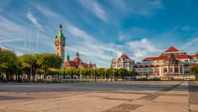 Beautiful architecture of Sopot at morning. Beautiful architecture of Sopot at morning sun in Poland, Europe royalty free stock photos