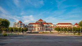 Beautiful architecture of Sopot with Spa House Dom Zdrojowy at morning, Poland. stock photos