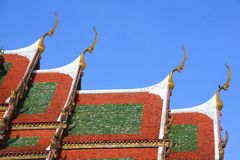 Beautiful architecture of temple roof with naga Royalty Free Stock Image