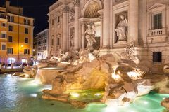 Beautiful architecture of the Trevi Fountain in Rome at night, Italy. Di baroque roma water artistic italian sculpture famous statue landmark travel outdoor stock photography