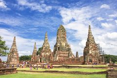 Beautiful architecture of Wat Chaiwatthanaram temple, Thailand royalty free stock images
