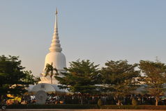 Beautiful  Architecture White Stupa In Temple Bangkok Thailand Wat PhraSri Stock Photos