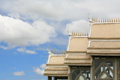 Beautiful Architecture of White Temple Roof Stock Photos