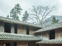 Beautiful architecture wooden houses, Vuong's House palace stock photo