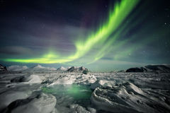 Beautiful Arctic Fjord Landscape With Northern Lights - Spitsbergen, Svalbard Royalty Free Stock Photos