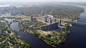 Beautiful area of Kiev near the Dnieper River. Royalty Free Stock Image