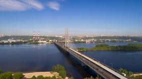 Beautiful area of Kiev near the Dnieper River. Royalty Free Stock Photos
