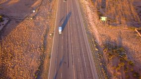 Beautiful Arizona aerial view of the endless infinity road to the grand canyon.