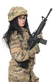 Beautiful army girl with rifle Stock Image