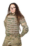 Beautiful army girl with rifle Stock Photo