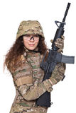Beautiful army girl with rifle. Isolated on white Stock Image