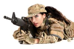 Beautiful army girl with rifle is aiming. Beautiful army girl with rifle isolated on white Stock Photos