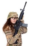 Beautiful army girl with rifle. Isolated on white Royalty Free Stock Photography