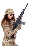 Beautiful army girl with rifle. Isolated on white Royalty Free Stock Photos