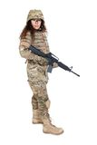 Beautiful army girl with rifle. Isolated on white Royalty Free Stock Image