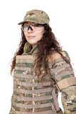 Beautiful army girl with rifle. Isolated on white Royalty Free Stock Photo